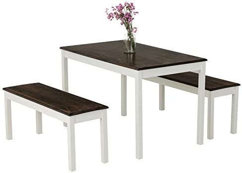 picture of Mecor 3-Piece Dining Set Table - 2 Benches, Solid