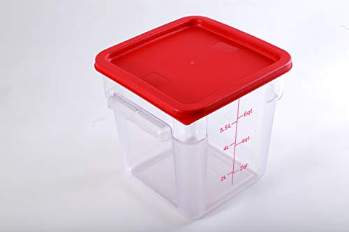 Hakka 8 Qt Commercial Grade Square Food Storage Containers with Lids,Polycarbonate,Clear - Case of 5 by HAKKA FOOD PROCESSING (Image #3)
