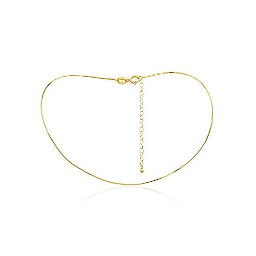 Snake Necklace 1mm Chain (Sea of Ice Yellow Gold Flashed Sterling Silver 1mm Square Snake Chain Necklace, Size 14