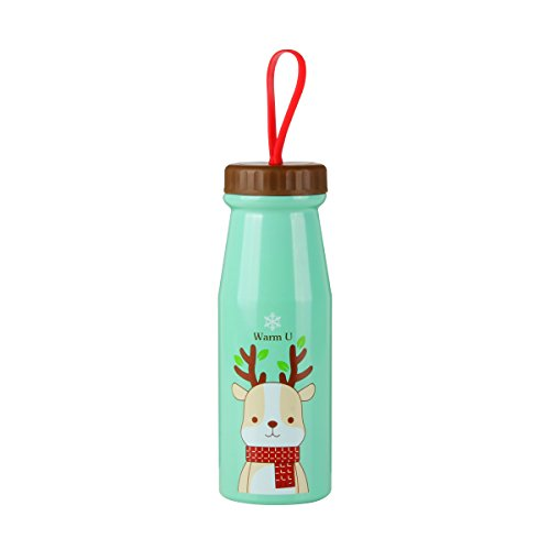 UPSTYLE Thermos Travel Mug Cute Cartoon Animal Pattern Vacuum Insulated Stainless Steel Thermos Water Bottle Coffee Thermos Vacuum Flask Vacuum Cup for Children Size 11.1oz (330 ml), Green