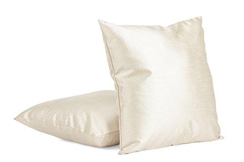 Dream Pillow Sham Insert (2-PC 26 X 26 Inches Faux Silk Decorative Euro Pillow Cover, Throw Pillow Case (Ecru))