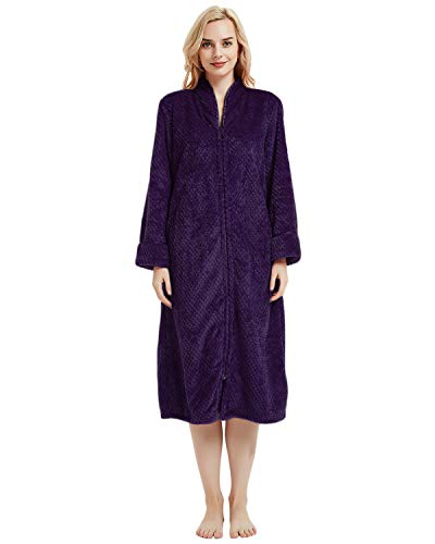 LAPAYA Women's Fleece Robe Calf Length Long Sleeve Fluffy Plain Zip Front Bathrobe, Purple, Tag Size XL=US Size Large