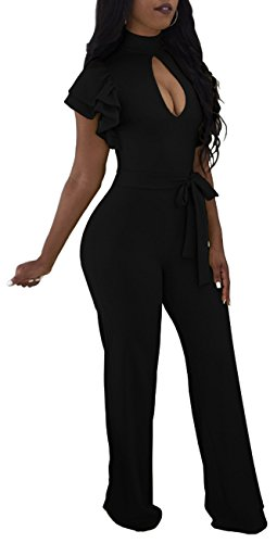 SxClub Women's Sexy Ruffles Short Sleeve Solid Hollow Out Loose Wide Legs Party Mini Club Jumpsuits Romper,Black,XX-Large