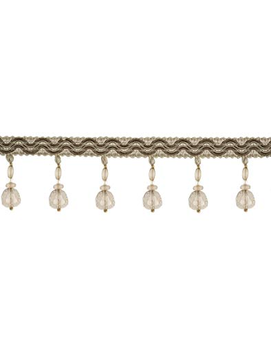 Mushroom Linen Beaded Tassel Onion Ball Fringe Trimmings Upholstery Fabric by the yard