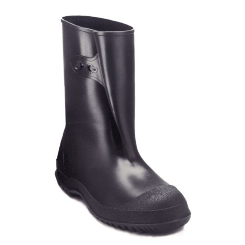 Totes Rubber Boots - Tingley Rubber 35121 WorkBrutes PVC 10-Inch Overshoe with Button, Large, Black (Made from PVC)