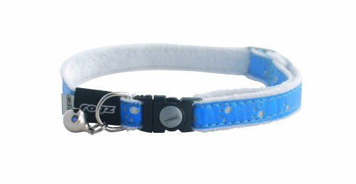 Rogz Catz Fluffy Cat Safeloc Breakaway Clip Adjustable Cat Collar, Small .375-Inches, Blue Design