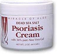 Miracle de l'Aloe Mer Morte Sel Psoriasis Cream 2 Oz contient 36% Pure Gel d'Aloe Vera & Sels de la Mer Morte! Contribue naturellement à soulager les sèche, démangeaisons, peau écailleuse causée par le psoriasis, l'eczéma et autres affections cutanées irr