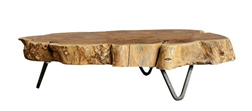 - Creative Co-op Raw Edged Wood Slab with Metal Feet