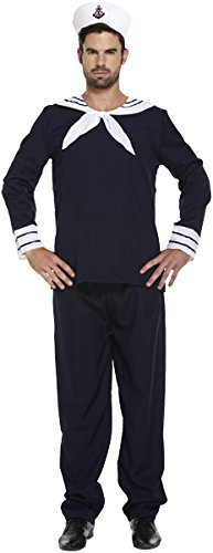 Mens Adult Sailor Navy Officer Captain Uniform Fancy Dress Costume Outfit U36103 by Fancy Pants Party (Officer Fancy Dress)