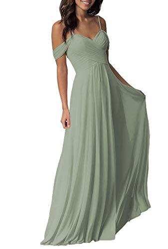 Dusty Green Wedding Bridesmaid Dress for Women 2019 Long Cold Shoulder Pleated Chiffon Formal Dress for Women