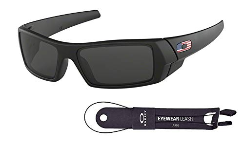 Oakley Gascan OO9014 Sunglasses+BUNDLE with Oakley Accessory Leash Kit (Matte Black/Grey, ()
