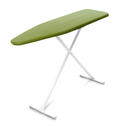 Homz T-Leg Adjustable Maximum Foam Pad Ironing Board with Cotton Cover, Fresh Green