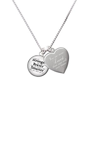 Delight Jewelry Domed Stronger Braver Smarter You are More Loved Heart Locket Necklace
