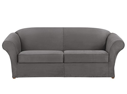 (Sure Fit Ultimate Heavyweight Stretch Suede Sofa Individual 2 Cushion Slipcover - Slate Gray)