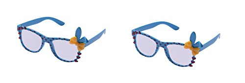 UltraByEasyPeasyStore 2 Pairs of Cute 3D Multi Color clear lens Bunny Heart Bow Frames for costumes parties Glasses gift nerds & hipsters Blue Pink Black Yellow White (2 Blue Pairs) ()