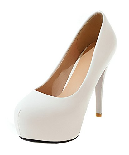 Pumps High Solid Heels White On Toe WeenFashion Pull Women's 37 Shoes PU Round w6EBxfHzqW
