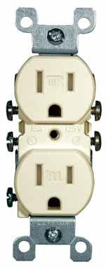 Leviton T5320-I 15A 125V Tamper Resistant, Duplex Receptacle, Residential Grade, Grounding, Ivory (10 Pack) - Leviton Ivory 15a Tamper