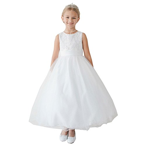 Little Girls White Satin Lace Applique Tulle Wire Hem Flower Girl Dress 4 (Dresses Tip Top Kids)