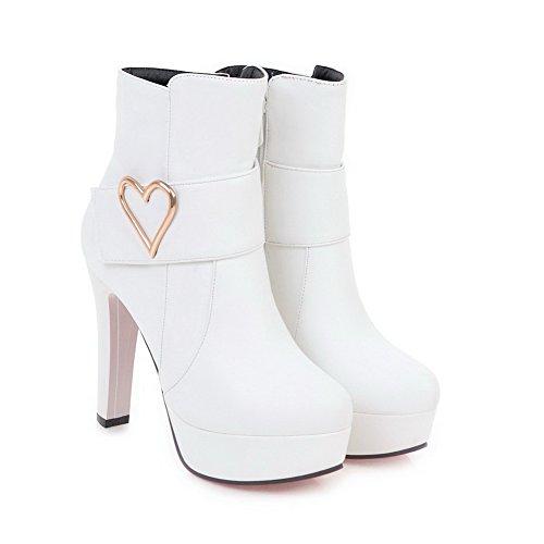 AdeeSu Womens High-Heel Charms Ankle-High Urethane Boots SXC02564 White TJwSZ