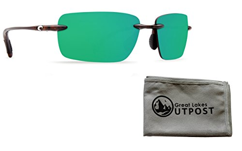 Bay Oysters - Costa Oyster Bay Green Mirror 580P Tortoise Frame Sunglasses Bundle with Cloth