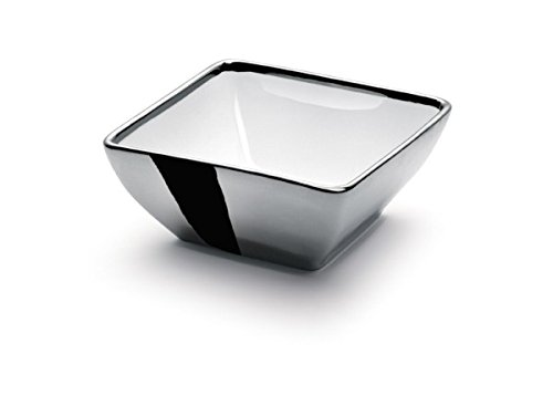 White and Silver Plated 925 Sterling Square Serving Bowl, Elegant Centerpiece Bowl 6.5