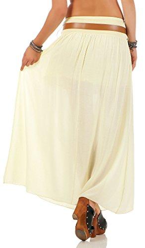 malito falda con cinturón verano tramo Maxi A-línea 17126 Mujer Talla Única amarillo