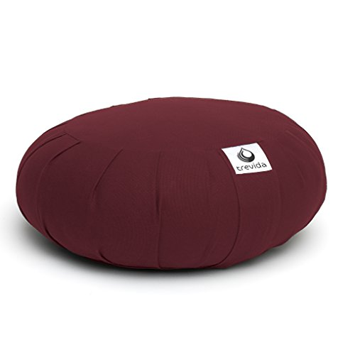 Refillable Burgundy (Trevida (Burgundy) Organic Zafu Buckwheat Meditation Cushion Bolster Yoga Cushion - Handcrafted Certified Organic Premium Cotton & High Quality Zipper - Refillable & Adjustable - Built-in Handle)