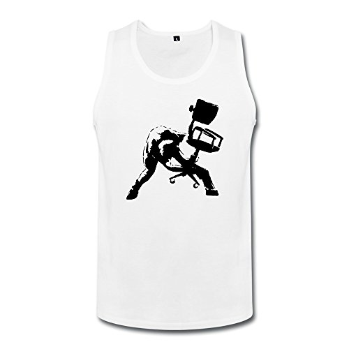Price comparison product image Superhero Men's Banksy Office Chair Clash Inspired White L Tank-top