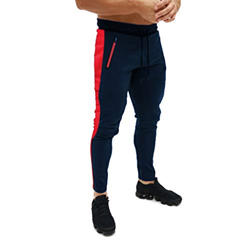 Men's Gym Jogger Pants Slim Fit Workout Running Sweatpants with Zipper Pockets Drawstring Tapered Chino Trousers Navy