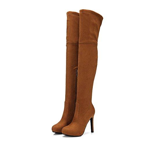 Talón Rodilla Mujeres Impermeable DYF Las Stiletto de Cabeza 36 Botas Claro Fino Redonda Marrón Zapatos 5wYqqAI1