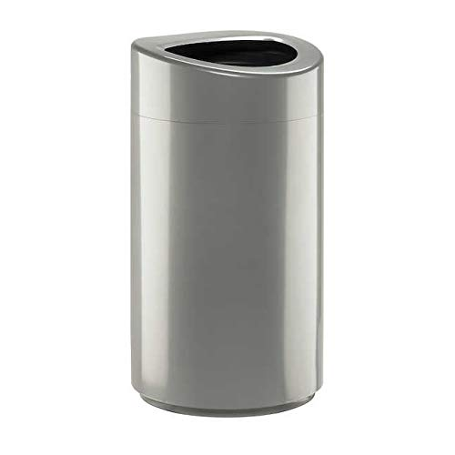Safco Products Open Top Trash Receptacle with Liner 9921SL, Silver, 14 Gallon Capacity, Hands-Free Disposal, Modern Styling (Thank You Garbage Can)