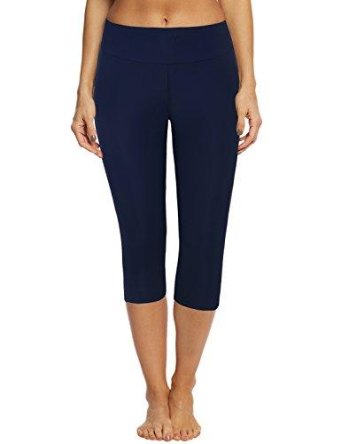 Septangle Women's Swim Pants Capris UPF 50+ Water Outdoor Sport Leggings (US 18W, Navy Blue)