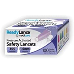 Medicore 802 ReadyLance Safety Lancet, 30 g x 1.6 mm (Pack of 100)