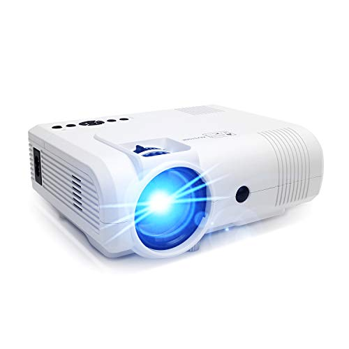 Projector,PoFun (2019 Upgrade) +50% Lumens Mini Portable Projector,LED Full HD Office Projector with 150''Display for Fire TV Stick,HDMI,VGA,AV,SD (L8 - Fire Displays