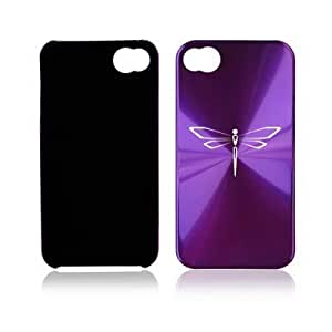 Apple iPhone 4 4S 4G Purple A187 Aluminum Hard Back Case Dragonfly