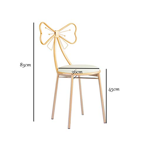 A-Fort W-1709 High Bar Stools for Kitchen Gold Bow Barstools with White Faux Leather Cushion Back Rest Lady's Dressing Chair,Seat Height (Color : White+Gold, Size : 45cm) -