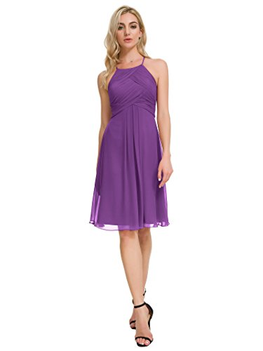 Alicepub Chiffon Bridesmaid Dresses Halter Cocktail Dress Short Homecoming Party Dresses, Purple, US8