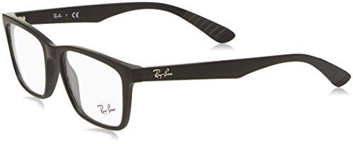 Ray-Ban RX7025 Square Eyeglass Frames, Matte Black/Demo Lens, 55 ()