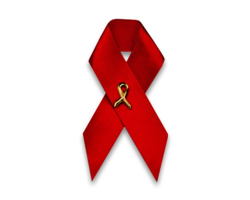 100 AIDS HIV Awareness Red Ribbon Satin Pins - Perfect for World AIDS Day (Wholesale) -