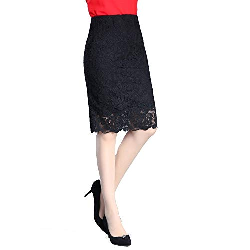 2018 Noir Envelopp Moyenne 6611 Longueur Haute Lace Automne Longueur Hip AINIF Jupe Taille Jupe Demi gCwd6Xq