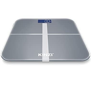 Kinzi Precision Digital Bathroom Scale w/ Extra Large Lighted Display, 400 lb. Capacity and  Step-On  Technology [2016 VERSION]