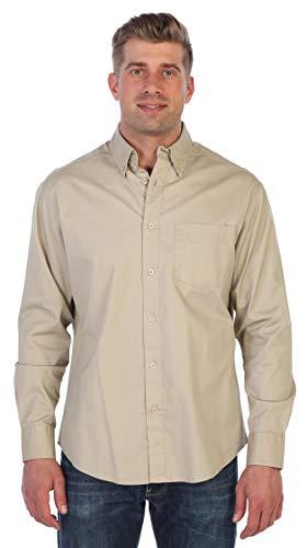 Gioberti Mens Long Sleeve Casual Twill Shirt, Khaki, X - Twill Shirt Solid Mens