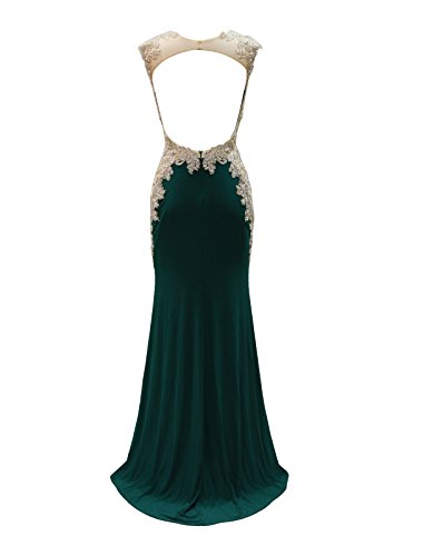 New Vogue Women's Sexy Long Jersey Lace Applique Hand Beading Mermaid Evening Prom Dress,Elegant Party Dress,Prom Gowns