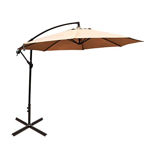 Sundale Outdoor 10FT Offset Umbrella Cantilever Umbrella Hanging Patio Umbrella with Crank and Cross Bar Set, Steel Ribs, Polyester Canopy Shade for Deck, Garden, Backyard, Tan