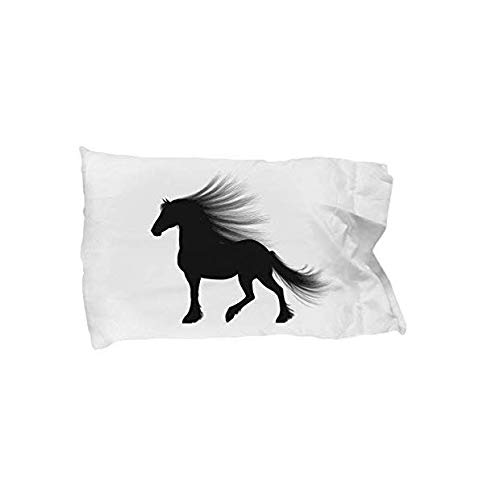 GIRL & HER HORSE PILLOW CASE BEDDING, Cute Silhouette Standard Pillowcase for Daughter - Niece - Girls Who Love Horses, Great Under $20 Gift for Bedroom Decor (# 1, White) by Tiny Giant T Shirts & Mugs