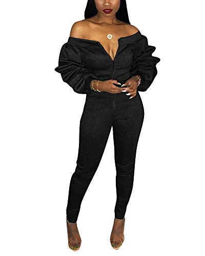 Shoulder Puff - Women Sexy Off The Shoulder Puff Sleeve Bodycon Party Jumpsuit Romper Clubwear Black 3XL