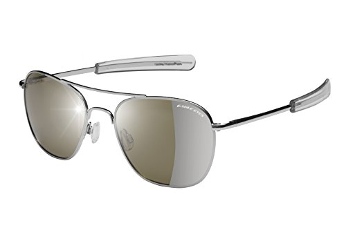 Eagle Eyes FREEDOM Aviator Sunglasses - Gunmetal Rims with Polarized Silver Flash Mirrored Lenses, - Navy Glasses Issued