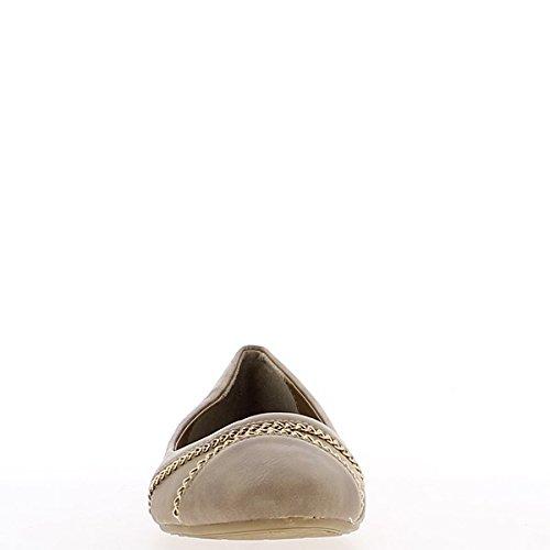Ballerinas Taupe mit Goldkette und Köper Band 1 cm