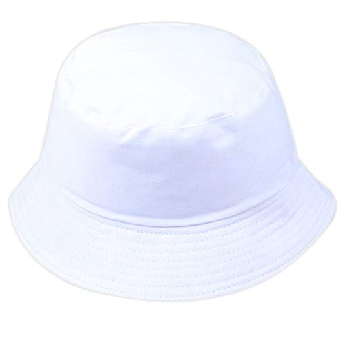 Toponly Unisex Fisherman Hat Outdoors Cotton Packable Fishing Hunting Summer Outdoors Wild Sun Protection Travel Bucket Cap White ()