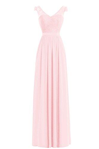 Pink Dora (Dora Bridal Women&Acute;s Double V Neck Evening Prom Party Maxi Dress Blushing Pink)